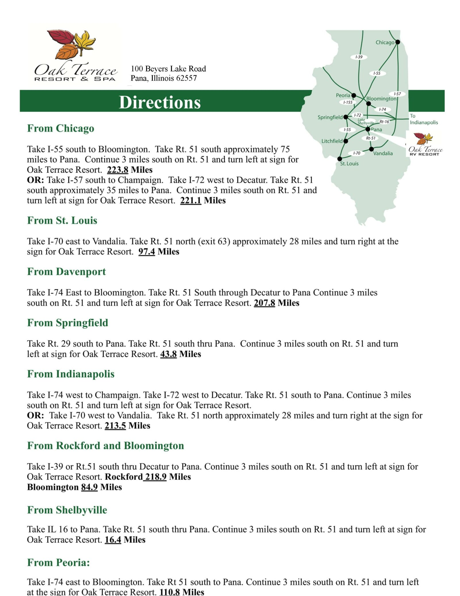 Oak Terrace RV Resort Directions